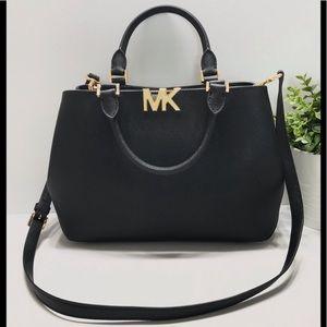 "Michael Kors ""Florence"" black leather satchel"
